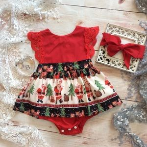 Other - Boutique Baby Girls Christmas Romper Dress 2pc